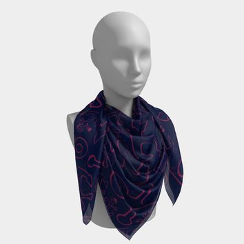 Anchor Dream Square Scarf - Pink on Navy