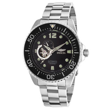 Invicta 15387 Men's Pro Diver Automatic Semi-Skeleton Black Dial Stainless Steel Dive Watch