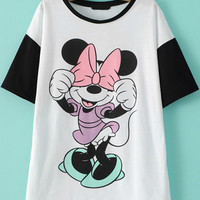 Black and White Cartoon Character Print T-Shirt