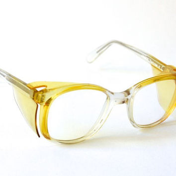 Vintage nerd glasses yellow West German 60s men women statement frame eyewear