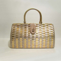 Vintage Gold & Pearl Wicker Woven Straw Purse c. 1960's Mad Men Chic
