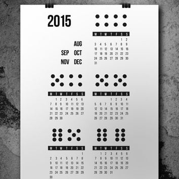 Wall Calendar 2015, August December, Printable Black and White Download