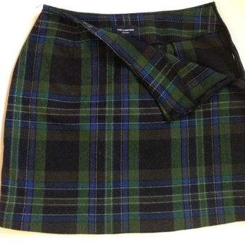 blue and green plaid tartan skirt