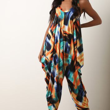 Abstract Print Sleeveless Harem Jumpsuit