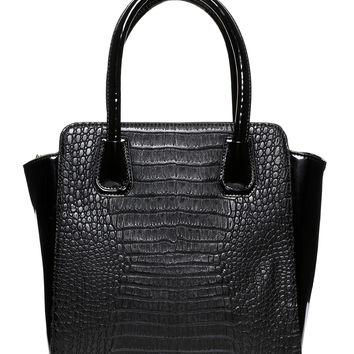 Black Patent Mock Croc Tote Bag