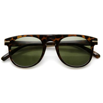 Retro Indie Dapper Keyhole P3 Round Flat Top Sunglasses 9302