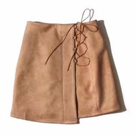 Sonja Suede Side Lace Up Mini Skirt
