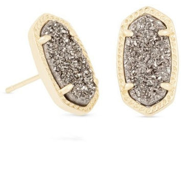 Kendra Scott: Ellie Gold Stud Earrings In Platinum Drusy