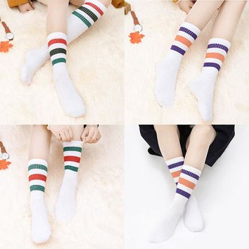 Fashion Warm Multicolor Stripes White Tight Legging Tube High Socks Neu.