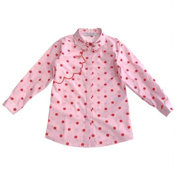 VIVETTA KIDS - Ariel Pink Polka Dot Long Sleeve Button Down Blouse Shirt