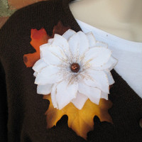 Thanksgiving Brooch Pin, Autumn Fall Fashion Pin, Floral Jewelry