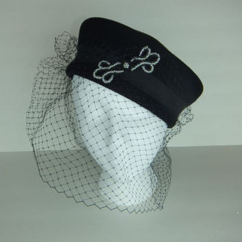 Vintage 50s or 60s Funeral Pillbox Netting Hat w/Beaded Emblem Geo. Bollman & Co.