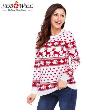 SEBOWEL Christmas Woman Reindeer Snowflake Pattern Knitted Sweater Ugly Pullovers 2018 Autumn Winter Xmas Sweaters for Feminine