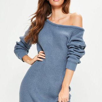 Missguided - Blue Off Shoulder Knitted Jumper Dress