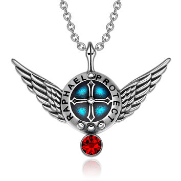 Archangel Raphael Angel Wings Protection Shield Magic Powers Charm Red Crystal Pendant 18 inch Necklace
