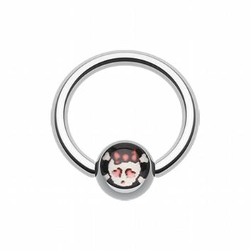 Cute Emo Skull Logo Ball Captive Bead Ring