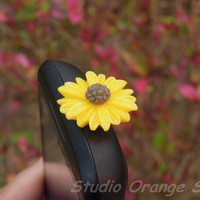1PC Resin Yellow Sunflower Phone Charm Cap by StudioOrangeStar