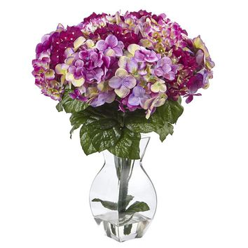 Silk Flowers -Blue Hydrangea With Vase Artificial Plant