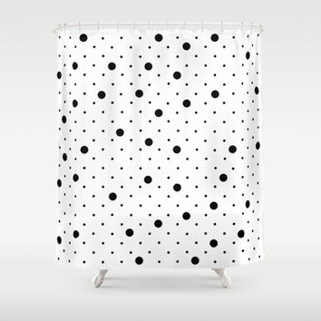 Pin Points Polka Dot Black and White Shower Curtain by Project M | Society6