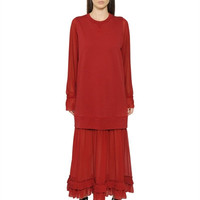 LUISAVIAROMA.COM - MM6 DI MAISON MARGIELA - COTTON SWEATSHIRT DRESS WITH CHIFFON HEM