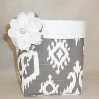 Lovely Brown And Creamy White Fabric Basket With Detachable Fabric Flower Pin