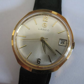 Vintage rare Lanco Swiss watch 5457 17j NIB with tags men's wristwatch - Gift for him