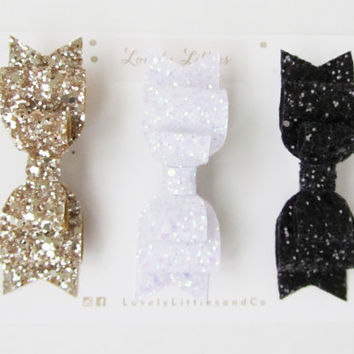Black, Gold, White Glitter fabric double bow hair clip - set of 3 - so Sparkly!!! Can be made in any colour - for child and adult!