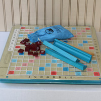 Vintage Rotating Plastic Scrabble Game Board with Maroon Tiles and Trays , Deluxe Scrabble Game Board with Raised Grids