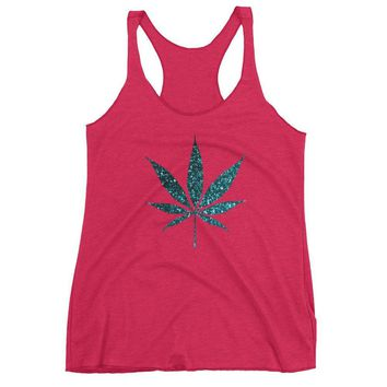 Glitter Pot Leaf Marijuana Leaf Tank Top Shirt For Women Sparkle