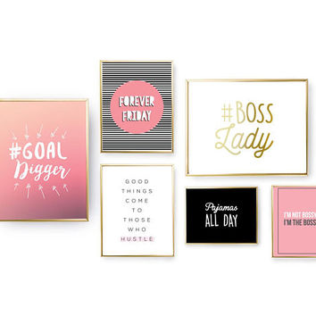 SET of 6 Prints, Positive Print, Boss Lady, Home Decor, Goal Digger Set, Motivational Quote, Funny Wall Art, Gold Foil Print, Dorm Decor