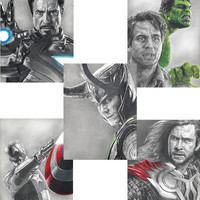 5 Drawing Prints, including Loki, Hulk, Thor, Iron Man and Captain America