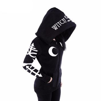 Punk Moon Witch Craft Printed Punk Rock Hoodies