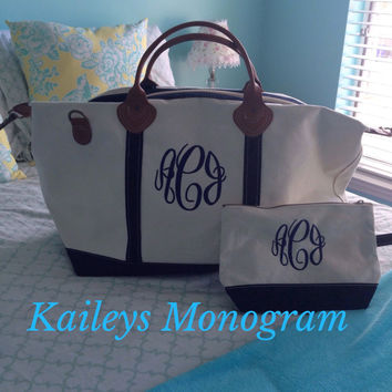 Monogram Weekender Bag Canvas Tote Carry On Bag Make Up Bag Cosmetic Bag Luggage Personalized Gift  Kaileys Monogram Kaileysmonogram
