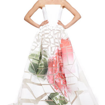Carolina Herrera Broken-Applique Rose-Print Strapless Gown