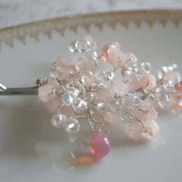 Pink Crystals Hair Piece. Evening hair Accessories.  Hair vines. Bobby pins.