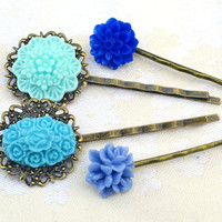 Mother's day sale,Turquoise and blue,resin flower bobby pin,shabby chic head Woman accessories hair rose mum bridesmaids vintage filigree
