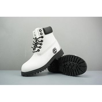 Timberland Leather Lace-Up Boot High White Black