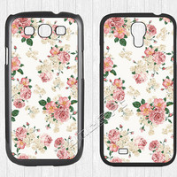 Flower Rose Samsung Galaxy S3 S4 Case,Sweet Flowers Patterns Galaxy S3 S4 Hard Rubber Case, Floral cover skin Case for Galaxy S3 S4