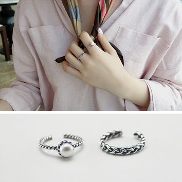 Jewelry Gift Shiny New Arrival Vintage Silver Twisted Pearls Stylish Accessory Ring [6586344583]