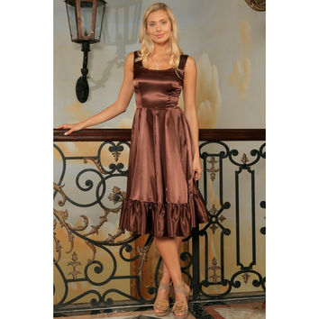Chocolate Brown Charmeuse Fit & Flare Prom Party Midi Dress - Women