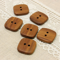 Wooden buttons. Set of 6 handmade natural apple wood buttons size 1 in (25mm) - A9258