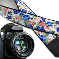 InTePro Flowers Camera strap.  Blue and pink roses DSLR / SLR Camera Strap. Camera accessories. Durable, light and well padded camera strap.
