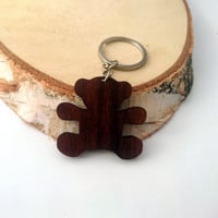Teddy Bear Wooden Keychain, Walnut Wood, Toy Keychain, Custom Engraved Keychain, Environmental Friendly Green materials