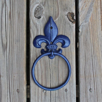Hand Towel Ring /Navy /Fleur de lis /Distressed Iron Holder /Bathroom Fixtur /Accessory Rack /Shabby Chic /