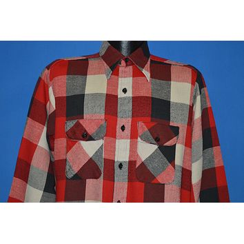 60s Five Brother Red White Black Buffalo Plaid Flannel Shirt Large