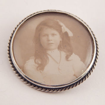 English Portrait Brooch Of a Young Girl
