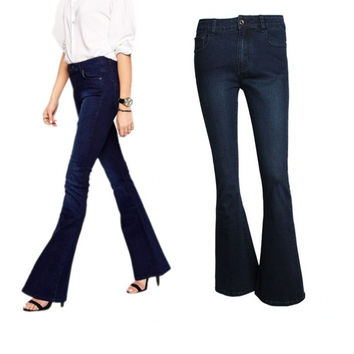 High Quality Fahion Women Vintage High Waist Wash Flare Bell Bottom Skinny Long Jeans Denim Trousers Pants
