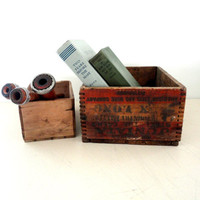 Pair of wood crates nesting storage boxes one with dovetail edges small crate boxes