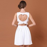 Bqueen Heart Cut Out Back White Dress TD007B - Designer Shoes|Bqueenshoes.com