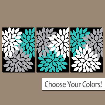 Turquoise Black Gray Wall Art, Flower Burst Artwork, Girl Matching Bedroom Pictures, CANVAS or Prints Set of 3 Floral Home Decor